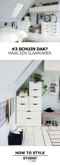Maak een slaapkamer STUDIO by IKEA Schuin dak? Bedroom Green, Cozy Bedroom, Bedroom Decor, Attic Bedroom Closets, Deco Studio, Apartment Door, Apartment Ideas, Student Room, My New Room