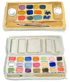 Caitlin McGauley: paintboxes. I love the colors of watercolors she uses!