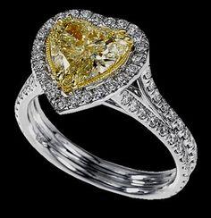 Heart canary & white diamonds ring