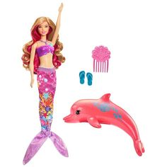 Bring Barbie Dolphin Magic to life with a gorgeous transforming mermaid Barbie doll! Ready to dive into an ocean of fun, this Barbie doll can transform into a mermaid with a two-in-one outfit. Mattel Barbie, Barbie And Ken, Toys For Girls, Kids Toys, Toys Uk, Barbie Mermaid Doll, Doll Clothes Barbie, Doll Toys