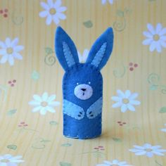 Blue Bunny Felt Finger Puppet