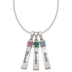 Zales: Mother's Synthetic Birthstone Bar Pendant in Sterling Silver (1-3 Stones and Names)