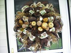 fall Deco mesh Wreath, fall wreath, mesh wreath, thanksgiving wreath ,wreath by WreathsEtc on Etsy