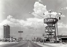 The Las Vegas Strip in Spring The Aladdin had just opened. Its site is Planet Hollywood today and the site of the Dunes is Bellagio. Las Vegas Strip, Vegas Casino, Las Vegas Nevada, Hotels And Resorts, Old Vegas, Las Vegas Photos, San Francisco, Bagdad