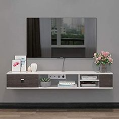 Floating Shelf Floating Shelf Wall Mounted Console TV Stand Shelves Rack Cabinet Gaming Console Shelving Unit for Cable Boxes Routers Remotes DVD Players Game Wall Mount Tv Shelf, Tv Wall Shelves, Tv Stand Shelves, Console Shelf, Rack Tv, Storage Rack, Home Living Room, Living Room Decor, Floating Tv Shelf