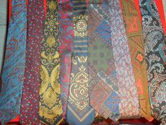 SNAZZY Lot of 13 Vtg Mens Neckties Paisley, Silk ,Wool Guy Laroche,  Tom James #NeckTie