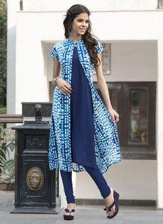 Cbazaar Blue Rayon Cotton Jacket Style Kurti