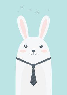 Poster Petit Lapin illustration pour chambre par AlbertPapeterie
