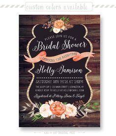 Rustic Bridal Shower Invitation Barn Wood Style by shopPIXELSTIX