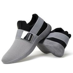 88588f834fabe8 Men Stretch Mesh Fabric Elastic Panels Metal Decoration Sport Running  Sneakers Mens Grey Dress Shoes