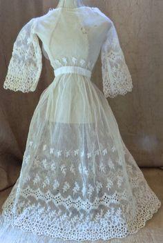 #860 Antique Cotton Dress for Antique Bisque Dolls