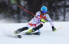 DAY 16:  Marco Pfiffner of Liechtenstein competes during the Alpine Skiing Men's Slalom http://sports.yahoo.com/olympics