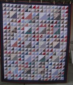 Lady of the Lake, made from men's shirts, a quilt by Judy Peterson (includes tips for selecting used shirts for quilting)