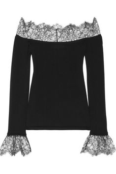 Black fine-knit wool Black lace and ribbed trims Slips on 100% wool; trim: 55% nylon, 45% rayon Dry clean