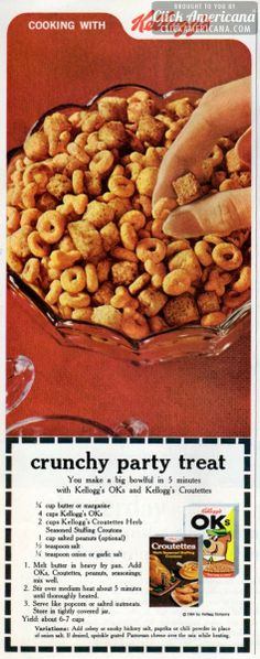 Make Crunchy party treats with OKs cereal (1964)  How does it taste? Ok...