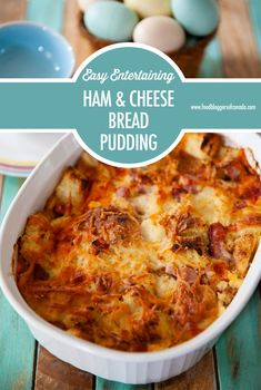 Ham and Cheese Bread Pudding recipe.Our easy, savoury Ham and Cheese Bread pudding is delicious for either brunch or dinner and it feeds a crowd making it great for entertaining! Cheese Bread, Ham And Cheese, Breakfast Recipes, Dinner Recipes, Grandma's Recipes, Dinner Ideas, Riced Broccoli Recipes, Savory Bread Puddings, Brioche