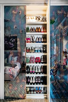 Have you ever seen a more beautiful shoe closet in your life? * Wonderwall * The Inner Interiorista Bedroom Built In Wardrobe, Wardrobe Doors, Wardrobe Ideas, Shoe Storage Wardrobe, Shoe Closet, Rustic Closet, New York Homes, Fitted Wardrobes, Condo Living