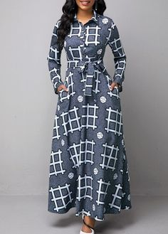Women'S Multi Color Geometric Print Long Sleeve Maxi Dress Turndown Collar High Waisted Cocktail Party Dress By Rosewe Turndown Collar Geometric Latest African Fashion Dresses, African Dresses For Women, African Print Fashion, African Attire, Women's Fashion Dresses, Dress Outfits, Ankara Fashion, Korean Fashion, Long Casual Dresses