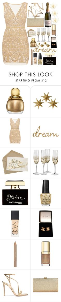 """Bring In The New Year In Style"" by designbecky ❤ liked on Polyvore featuring Christian Dior, LumaBase, Nicole Miller, Dolce&Gabbana, OPI, NARS Cosmetics, Chanel, Estée Lauder, Gianvito Rossi and La Regale"
