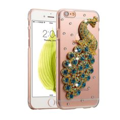 [USD1.95] [EUR1.75] [GBP1.36] Fevelove for iPhone 6 & 6s Diamond Encrusted Peacock Pattern PC Protective Case Back Cover