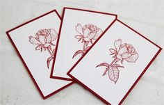 A beautiful red rose is the centerpiece of these hand made note cards. Whether you want to use them as thank you or thinking of you notes, these cards are perfect for your occasion. And how wonderful would set of these by as a little gift, maybe for a teacher or even part of a gift basket for a gardener.   The rose image is hand stamped with red ink onto white card stock and then layered onto a matching red card stock base. The inside of the card has been left blank for you to add your own…