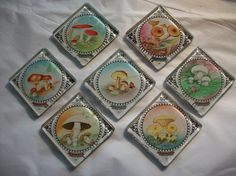 7 Vintage Mushroom Postage Stamp Glass Magnets from by BadCatCraft