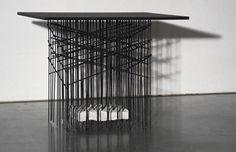 Bram Vanderbeke creates abstract furniture based on concrete reinforcements