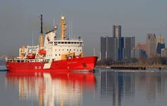 Canadian Coast Guard Ship Pierre Radisson on the Detroit River Monday. Heading for Lake Superior.