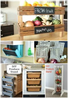 40 Smart Kitchen Storage and Space Management Ideas Smart Kitchen, Small Kitchen Storage, Produce Baskets, Produce Storage, Produce Stand, Craft Storage, Storage Baskets, Storage Ideas, Storage Racks