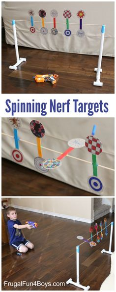 to Make a Nerf Spinning Target How to Make a Nerf Spinning Target - Fun game for a Nerf birthday party! Great boredom buster too.How to Make a Nerf Spinning Target - Fun game for a Nerf birthday party! Great boredom buster too. Projects For Kids, Diy For Kids, Cool Kids, Crafts For Kids, Kids Fun, Kids Boys, Simple Games For Kids, Pvc Projects, Nerf Birthday Party