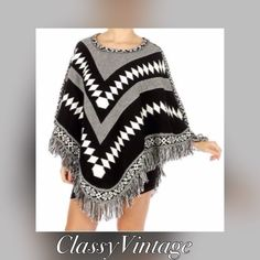 Aztec print woven poncho. NWT Blacks, whites and grey Aztec print poncho. Thick knit Boutique Jackets & Coats Capes