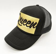 ea149b0ea79 New hot design QUEEN trucker hat printed in gold and