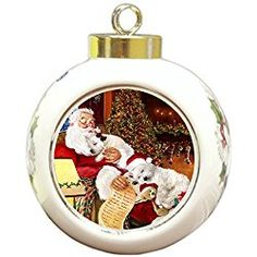 West Highland Terrier Christmas Ornament with Santa Sleeping Westie