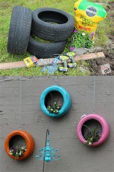 Jardineras colgantes con neumáticos