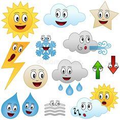 Collection of twelve funny cartoon weather character , Weather For Kids, Weather Calendar, School Organisation, Boarder Designs, Weather Seasons, Kindergarten Math Worksheets, Book Activities, Clip Art, Kids Rugs