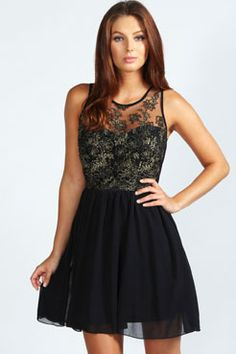 Farrah Metallic Floral Chiffon Dress at boohoo.com