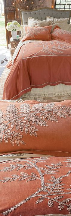 By designer Sarita Handa for Soft Surroundings...thousands of embroidery stitches are hand sewn and accented by hand-made French knots on a textural slubbed cotton.