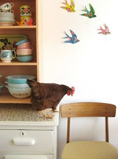 Pyrex and cute dishes displayed. And a chicken.