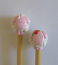 Bamboo knitting needles  PINK / WHITE sheep    by knitterscritters, $15.00