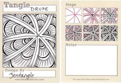Drupe is an official Zentangle by Maria Thomas, Zentangle founder. Tile example by Sandy Steen Bartholomew, Certified Zentangle Teacher