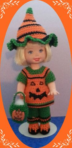 """Crochet Clothes Great Punkin Outfit for 4 ½"""" Kelly & same sized dolls in Dolls & Bears, Dolls, Barbie Contemporary (1973-Now) 