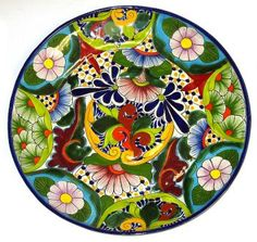 Traditional round Talavera Plate hand painted in a colorful floral pattern.  sc 1 st  Pinterest & Pin by Seval Bayraktar on mandala   Pinterest   Mexicans Pottery ...