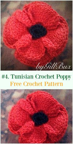 Crochet Poppy Flower Free Patterns - Decor Diy Home Knitted Poppy Free Pattern, Tunisian Crochet Patterns, Crochet Flower Patterns, Sewing Patterns, Knitted Poppies, Knitted Flowers, Crochet Puff Flower, Crochet Gratis, Easy Crochet Projects