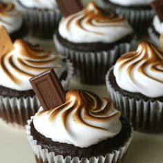 S'mores Cupcakes - graham cracker chocolate base, chocolate cake, and toasted marshmallow frosting. Amazing!