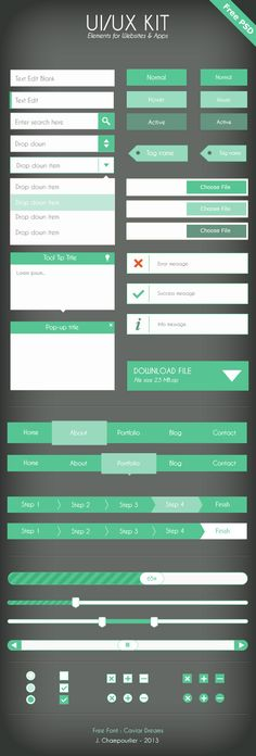Flat design,素材,icon,object  UI Flat design - green