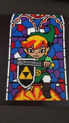 LoZ stained glass Link perler beads by GoW_GamerChick_91