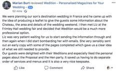 """Our guests were delighted with their Wedition's""  Personalised wedding magazine Unique favour"
