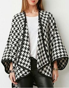 Noble Turn-Down Collar Long Sleeve Houndstooth Asymmetrical Women's CoatCoats | RoseGal.com