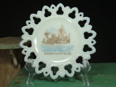 Antique Decorative Milk Glass Plate U.S. Battleship Maine Reticulated Open Edge by 13thStreetEmporium on Etsy