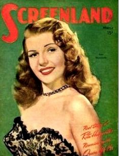 Rita Hayworth on the cover of Screenland magazine, March 1947.